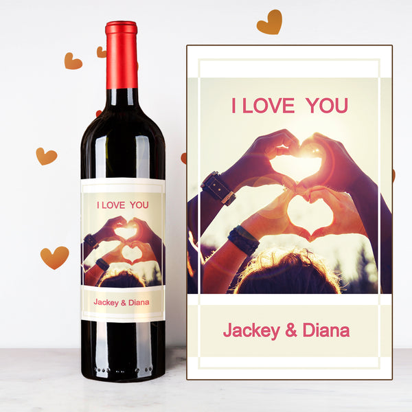 Personalize Heart Hands Couples Wine | 情侶定制酒 - Design Your Own Wine