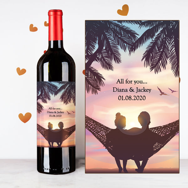 Personalize Watching Sunset Couples Wine | 情侶定制酒 - Design Your Own Wine