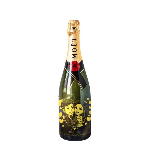 Cute Cartoon Style Cartoon Engraving | Personalize Champagne & Sparkling Wine