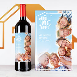 Blue Home House Warming Wine | Customize Name Wine Label | 慶祝新居定制酒 - Design Your Own Wine