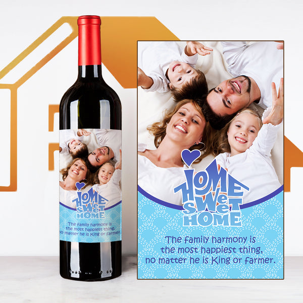Blue Family House Warming Wine | Customize Name Wine Label | 慶祝新居定制酒 - Design Your Own Wine