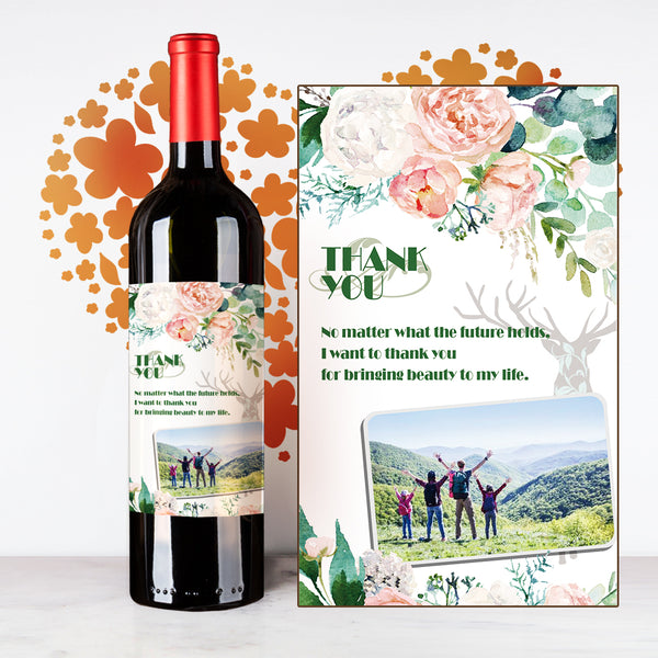 Personalize Flowery Thank You Wine | 多謝定制酒 - Design Your Own Wine