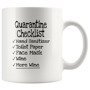 Quarantine Checklist Mug - Wine and More Wine