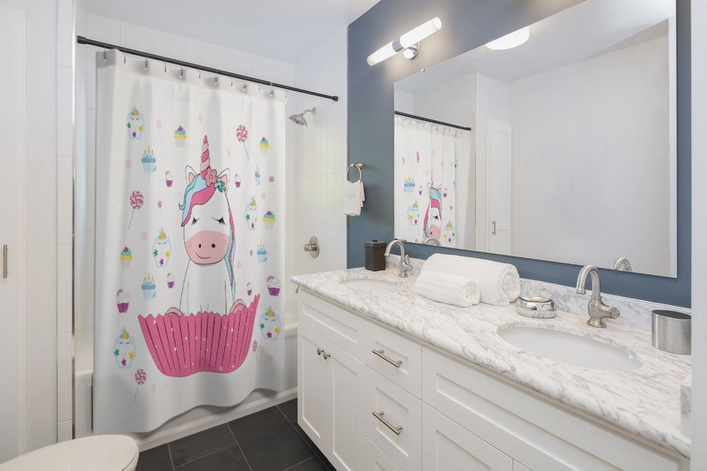 Unicorn Cupcake Shower Curtain