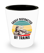 Load image into Gallery viewer, Train Shot Glass, Easily Distracted By Trains