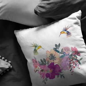 Floral Hummingbird Pillow