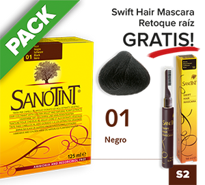 PACK Sanotint Classic - 01 Negro + Swift Hair S2 gratis