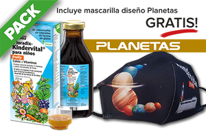PACK Floradix-Kindervital fruity líquido - 250 ml + mascarilla Planetas
