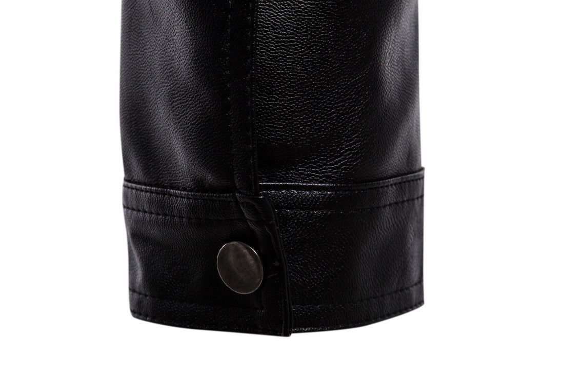 College Juniors Black Color Quilted Rocker Leather Jacket, Motorcycle PU Leather Men's Coat