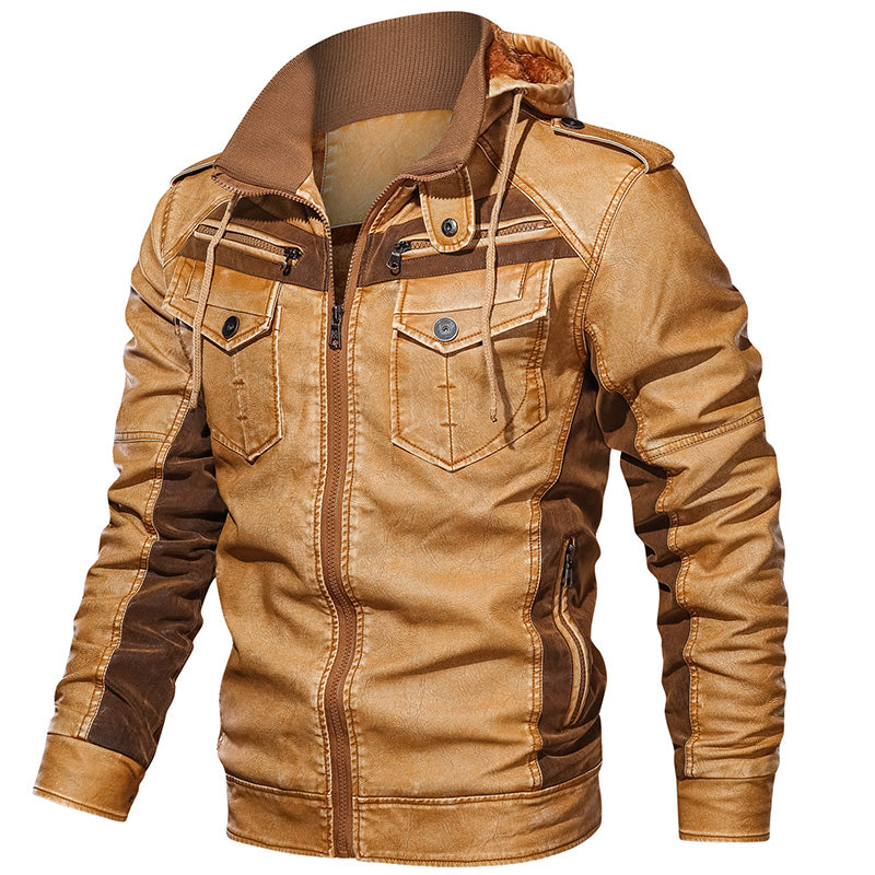 New Arrivals Patchwork Design Winter Plus Velvet Hooded Motorcycle Leather Jacket for Mens Wholesale Men's Jackets & Coats