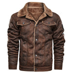 2019 Winter Casual Single Breasted Brown Color Faux Fur Suede Leather Jaket  for Mens