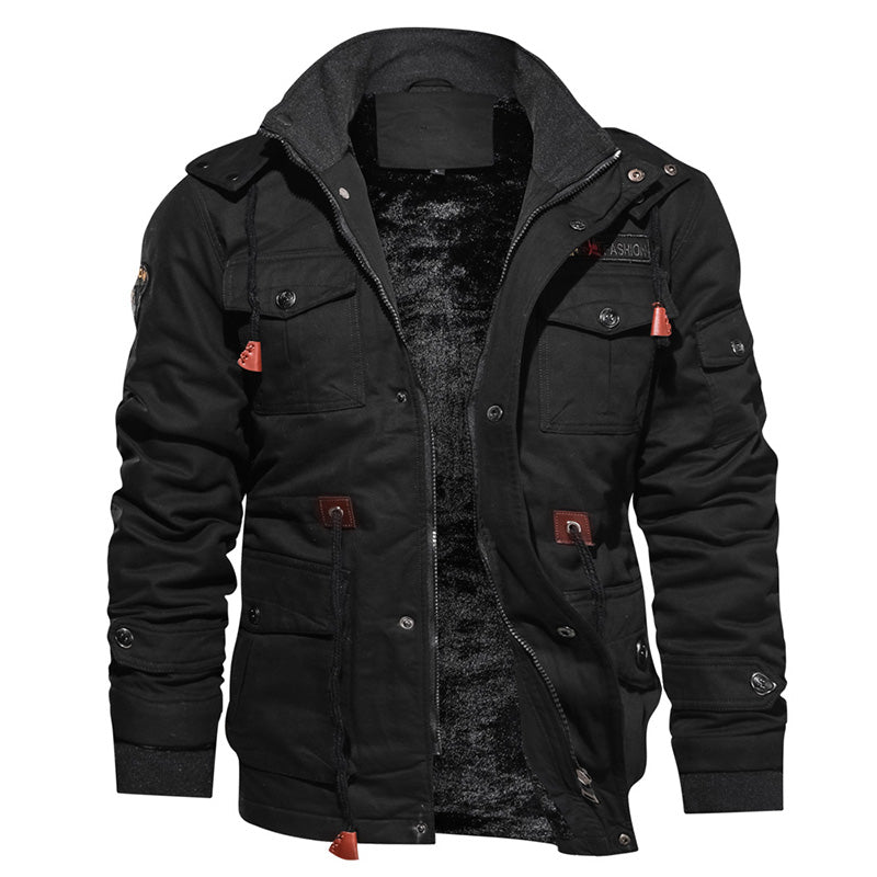 Winter Thickening Fleece Warm Military Style Track Jacket Men Plus Size Bomber Jacket Coat