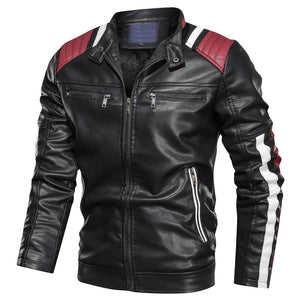 Mens Casual Stand Collar Zip UP Long Sleeve Mixed Color jaqueta couro moto Stylish PU Faux Leather Motorcycle Jackets