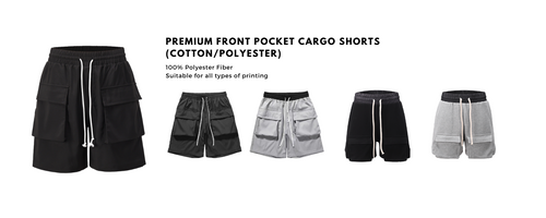 Cargo shorts availble for all types of printing. High end cargo shorts, top quality cargo shorts with premium printing. How to start your brand? Best place to customise your apparel brand
