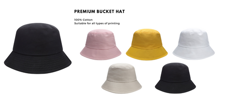 Customisable bucket hat available for embroidery or normal print. Customised printing available for each bucket hat. Bucket hat isa simple soft cloth hat with a brim.