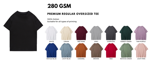 Premium oversized t-shirt, this oversized tee suits the ongoing trend for apparel brands. 280 gsm oversized comes with a higher thread count, providing the soft touch to the fabric but still ensuring the oversized shape of the tee. With 280gsm oversized tee it will bring out the premium qualities of the tee and brand. Oversized tees are suitable for all printings like custom print, full-printing, embroidery, pet printing, direct to garment printing (dtg), silkscreen and even 3m reflective print. High end street wear apparels.