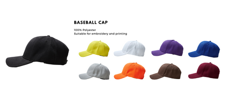 Baseball cap is available for customisation. Customise it however you like, baseball cap is able to customised via embroidery or custom printing.