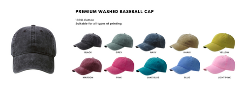 washed baseball cap, embroidery cap. First in singapore to provide your brand with premium quality service and printing. Shipping out your parcels locally and internationally.