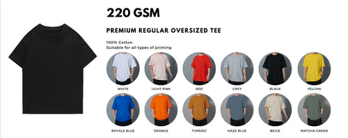 Premium oversized t-shirt, this oversized tee suits the ongoing trend for apparel brands. 280 gsm oversized comes with a higher thread count, providing the soft touch to the fabric but still ensuring the oversized shape of the tee. With 280gsm oversized tee it will bring out the premium qualities of the tee and brand. Oversized tees are suitable for all printings like custom print, full-printing, embroidery, pet printing, direct to garment printing (dtg), silkscreen and even 3m reflective print. High end street wear which gives your brand a premium look and qulity