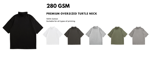 Turtle neck oversized tee is one of the special oversized that bring out a unique style to a brand. Turtle neck oversized tee can be customised to suit a brand design. With the trendy style like turtle neck, customisation can be made at very special way. Oversized turtle neck printing is available for all printing like custom print, full printing. embroidery, silkscreen, pet printing, direct to garment printing (dtg). Different types of tees for your street wear apparel brand. Customise your shirt with us