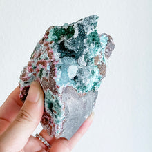 Load image into Gallery viewer, druzy chrysocolla + pink cobalt calcite 01