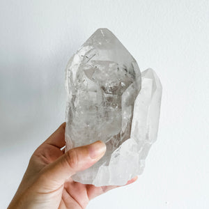 clear quartz cluster - double terminated