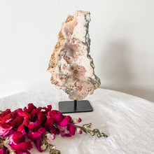Load image into Gallery viewer, pink amethyst slice on stand 06
