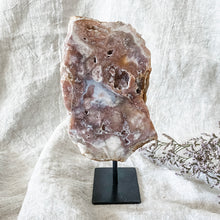 Load image into Gallery viewer, pink amethyst slice on stand 05