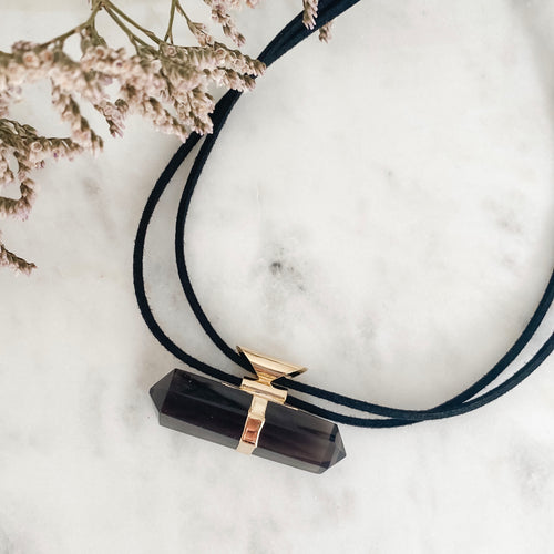 smoky quartz protection necklace - gold