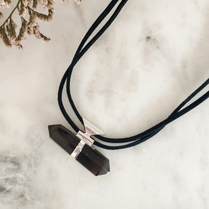 smoky quartz protection necklace - silver