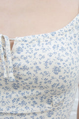 Ivory With Light Blue Daisy Floral / XS/S