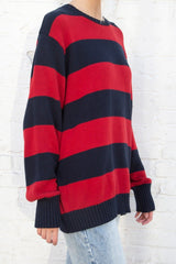 Navy Blue and Red Stripes / Oversized Fit