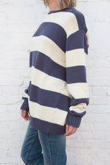 Ivory and Blue Stripes / Oversized Fit