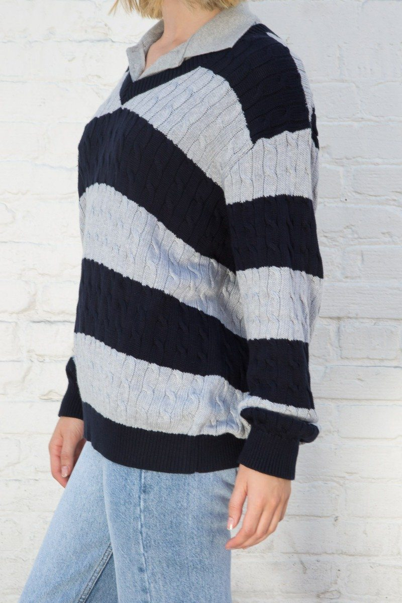Grey and Navy Stripe / Oversized Fit