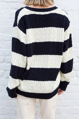 Navy Cream Stripes / Oversized Fit