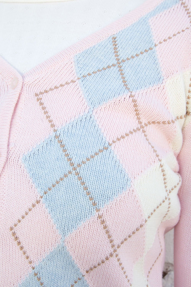 Pink Brown White and Blue Argyle / S
