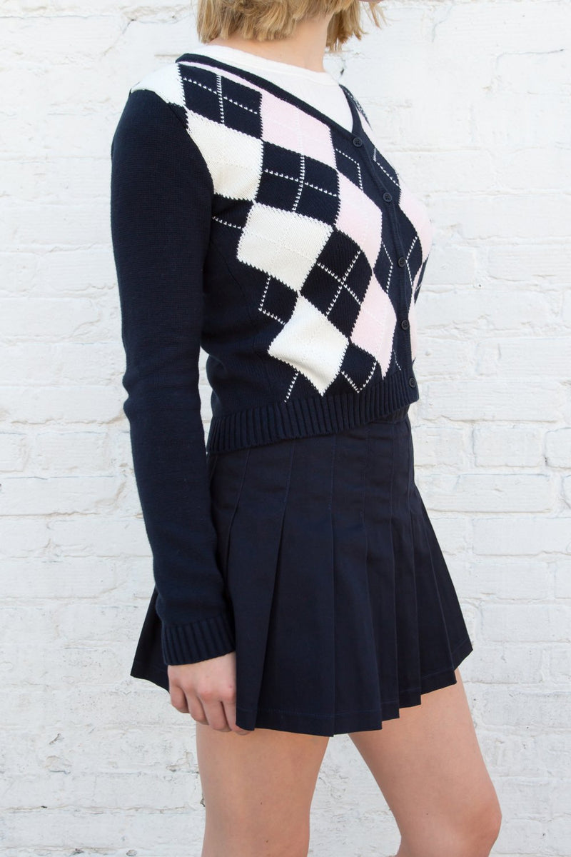 Navy Pink White Argyle / S