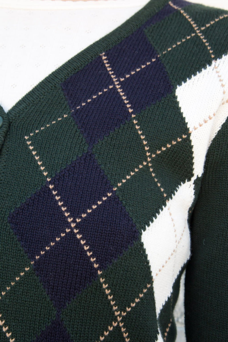 Green Navy White Tan Argyle / S