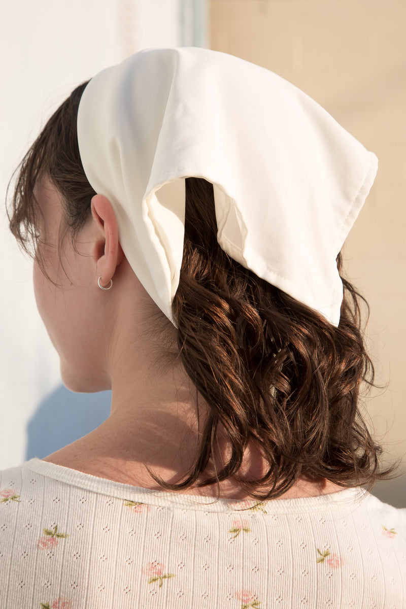 Detail Photo of White Bandana from the back