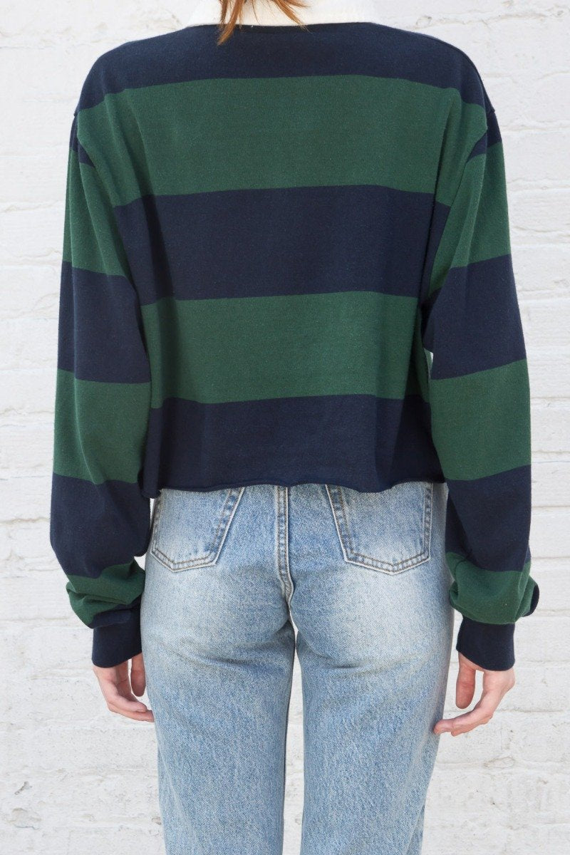 Navy Blue And Dark Green Stripes / S