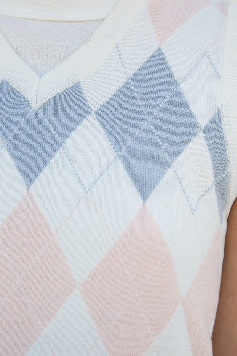 White Pink Blue Argyle / S