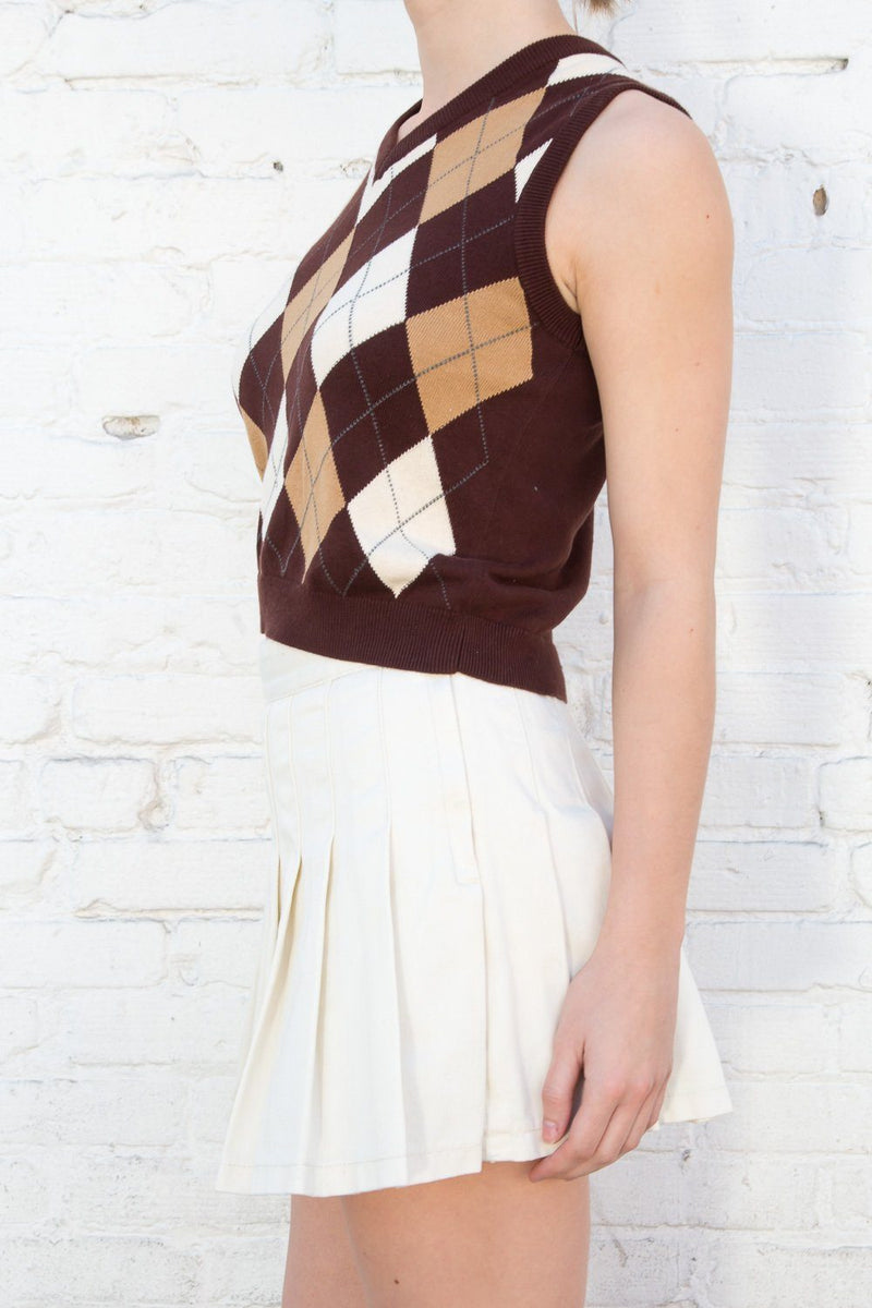 Brown And Tan Argyle / XS/S
