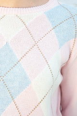 Pink Brown White and Blue Argyle / S/M