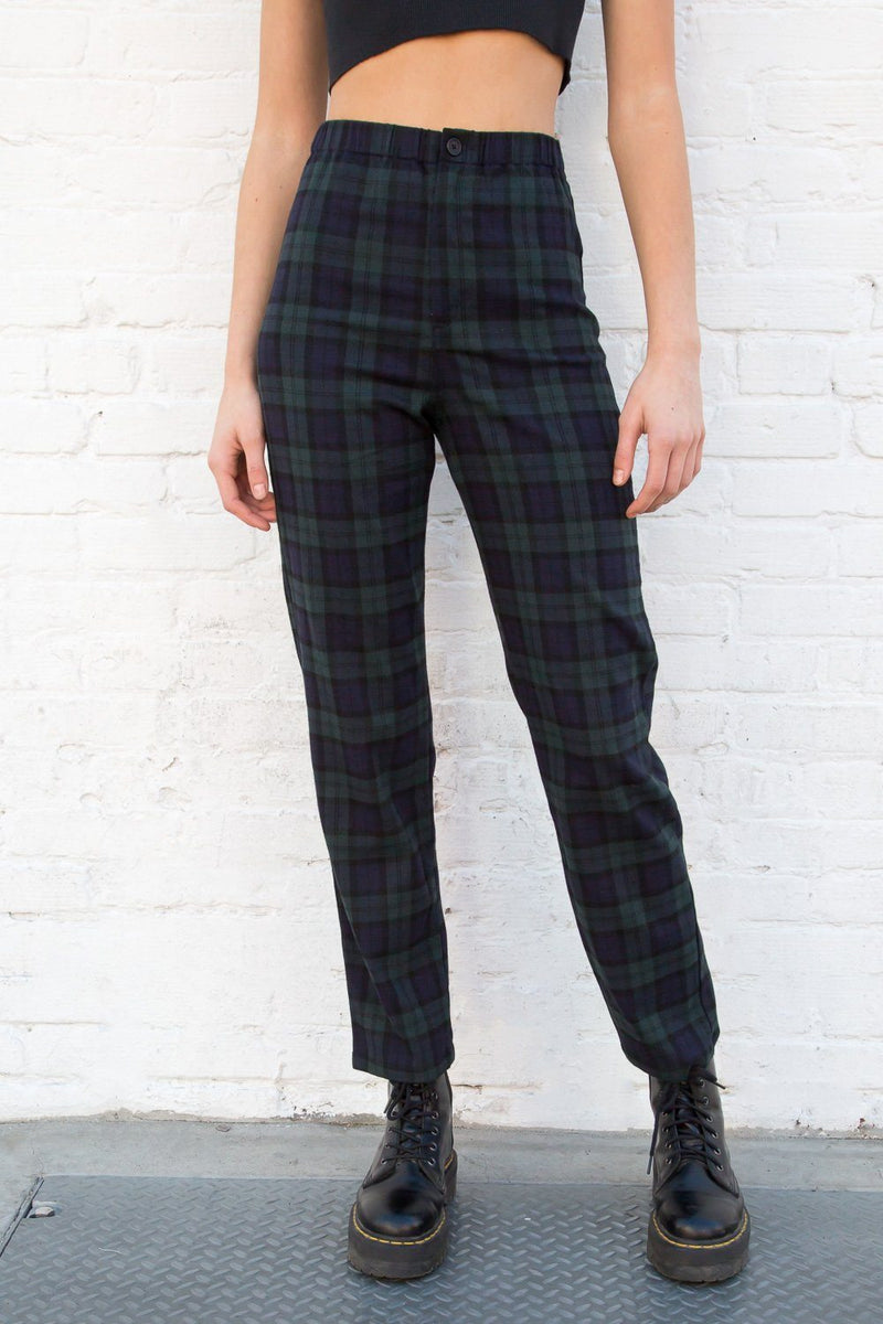 Navy Blue and Dark Green Plaid / S