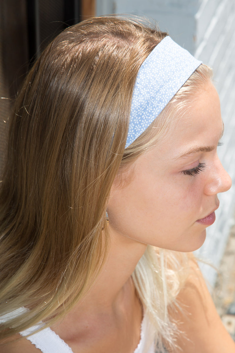 Detail Photo of Blue and White Floral Scarf Headband
