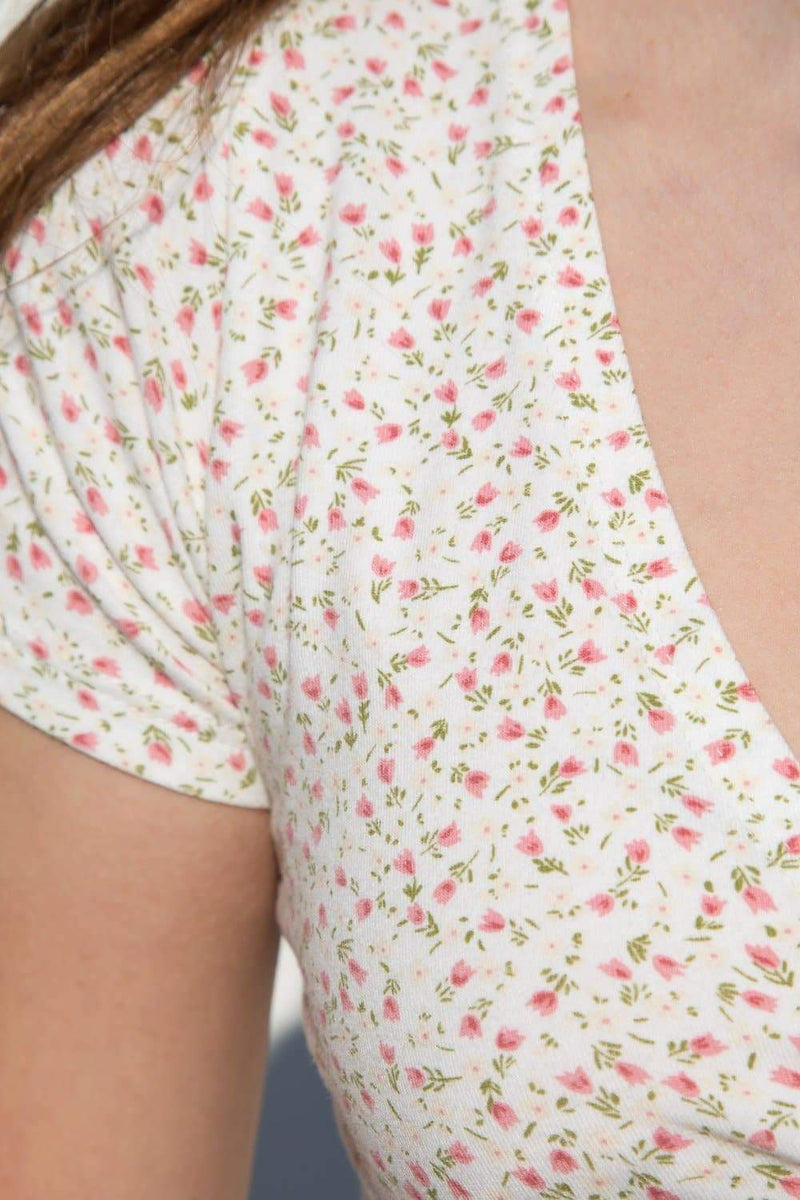 White with Pink Green Yellow Floral / S