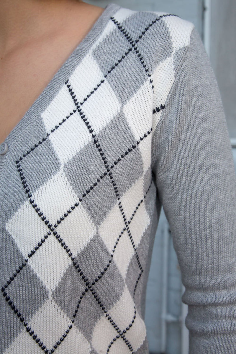 Heather Grey and White Argyle