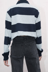 Grey and Navy Stripe / S