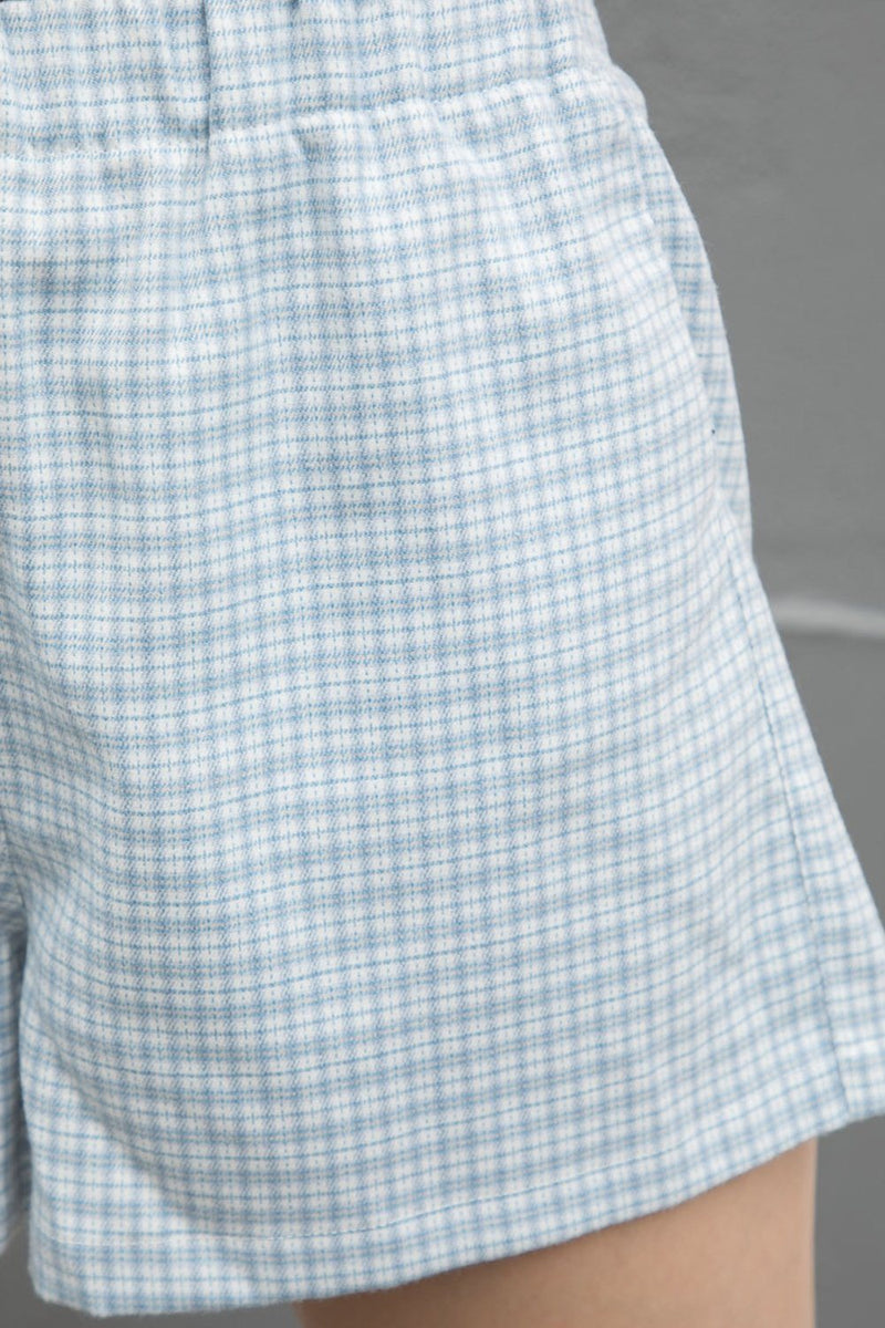 Light Blue White Ivory Plaid / XS/S