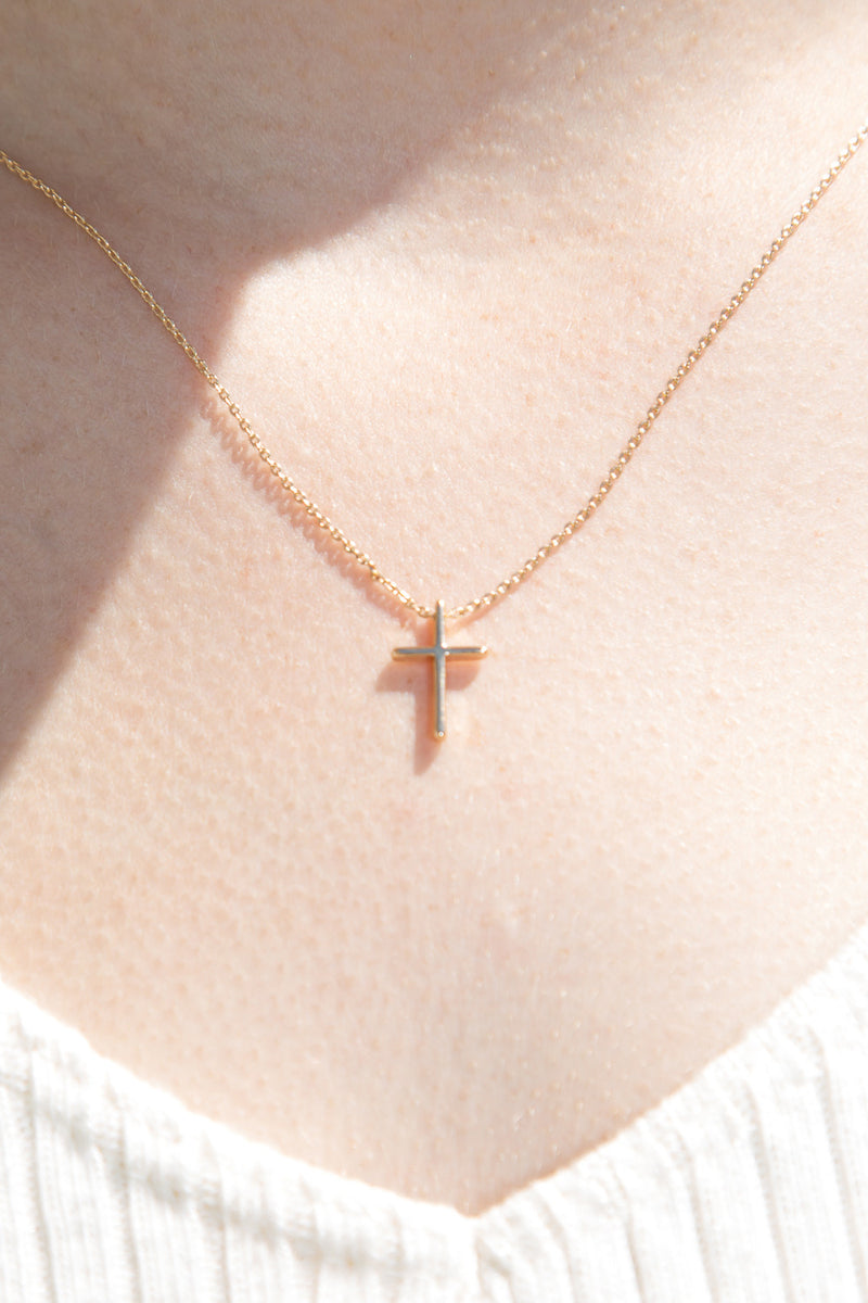 Detail Photo of Mini Gold Cross Necklace
